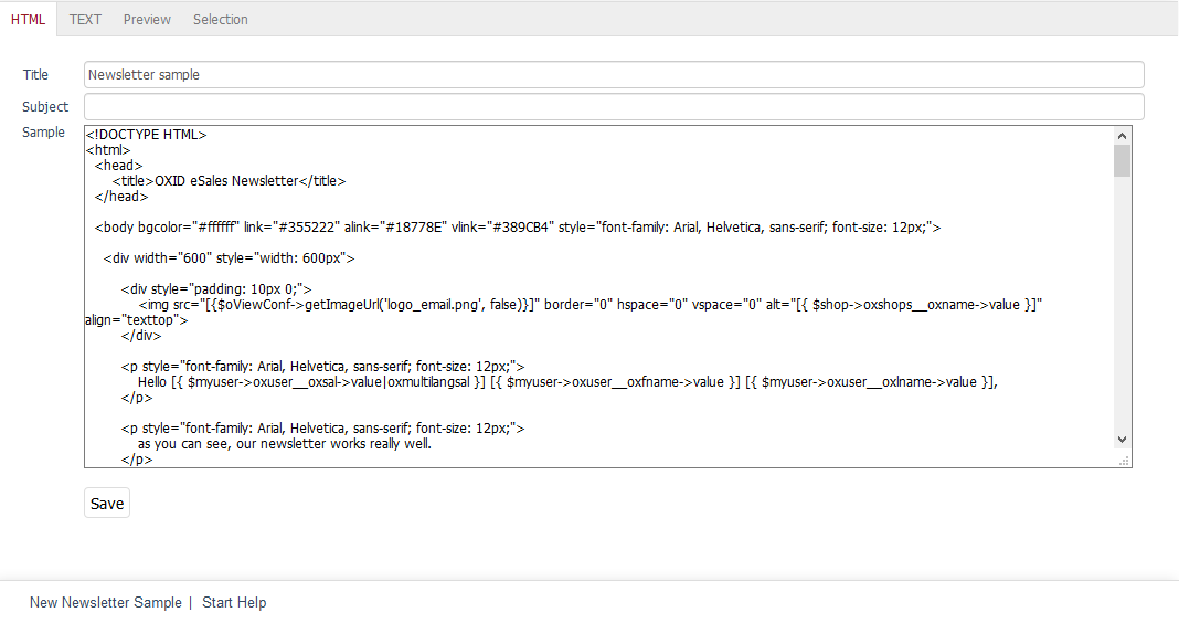 HTML tab — OXID eShop 6 1 | User documentation